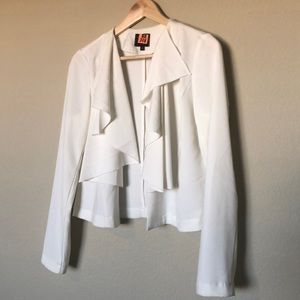White Ruffle Front Blazer